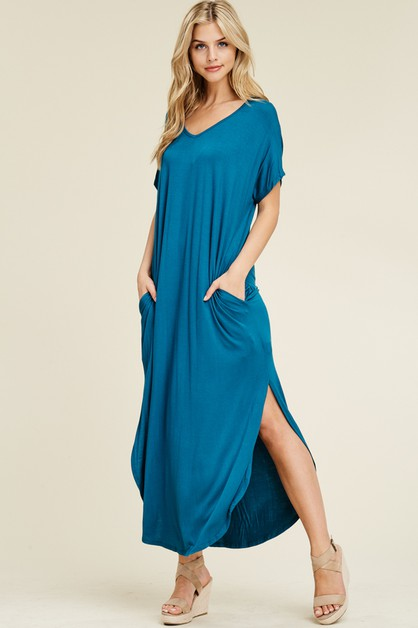 SIDE POCKET SIDE SLIT LONG DRESS - orangeshine.com