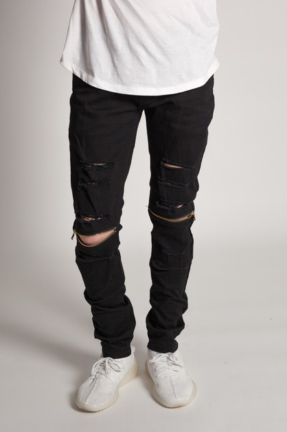 DESTROYED JEANS  WZIPPER - orangeshine.com