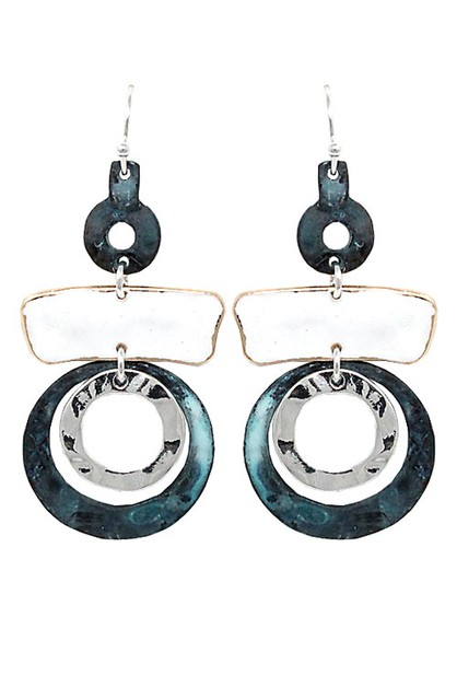 Mix Metal Drop Hook Earrings - orangeshine.com