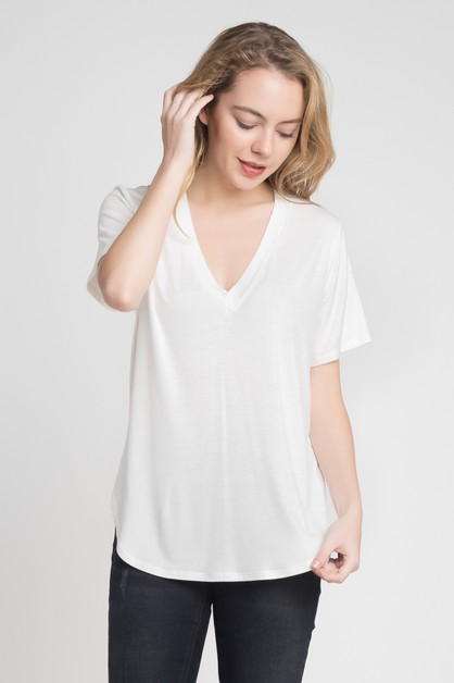 JERSEY V-NECK TOP - orangeshine.com