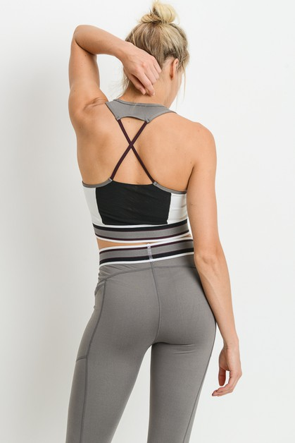 X Racerback Colorblock Sports Bra - orangeshine.com
