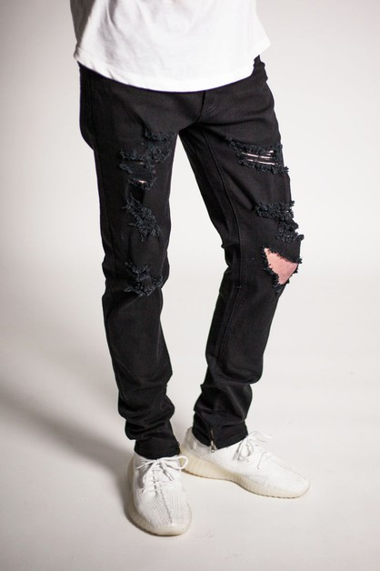 DESTROYED ANKLE ZIP PANTS - orangeshine.com