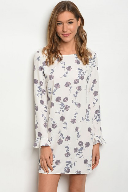 IVORY FLORAL DRESS - orangeshine.com