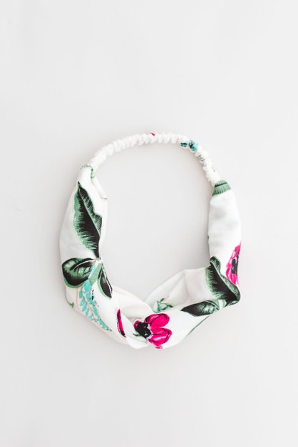 White Floral Twist Front Headband - orangeshine.com