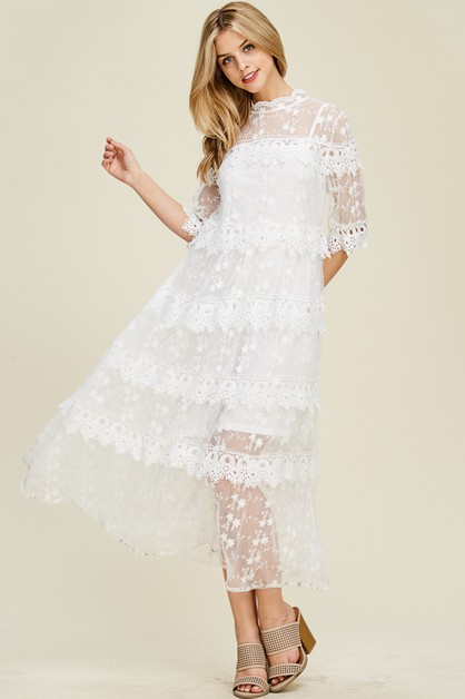 Crochet Lace Tiered Long Dress - orangeshine.com