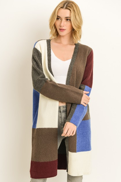 Colorblock Cardigan - orangeshine.com
