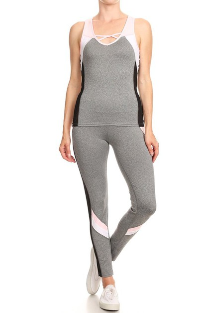 Color blocked activewear set  - orangeshine.com