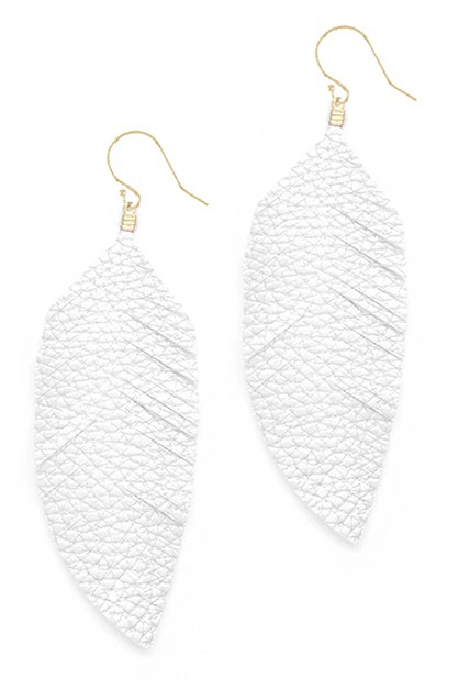 Faux Leather Feather Hook Earrings  - orangeshine.com