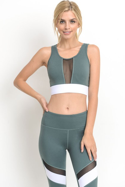 Colorblock Band Mesh Sports Bra - orangeshine.com
