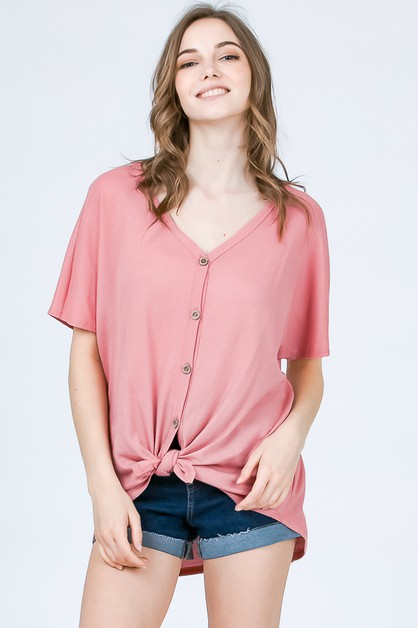 FRONT TIE BUTTON UP WAFFLE TOP - orangeshine.com