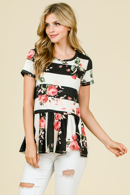 FLORAL STRIPED BABYDOLL TOP  - orangeshine.com