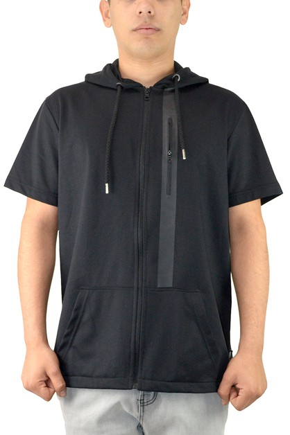 Short Sleeve Zip-Up Hoodie Tops - orangeshine.com