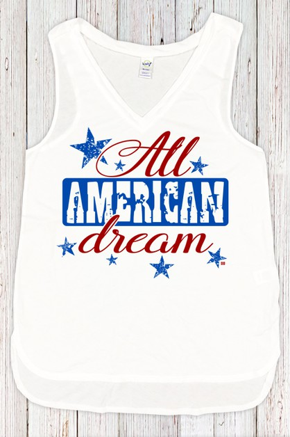 All American Dream V Neck Tank - orangeshine.com