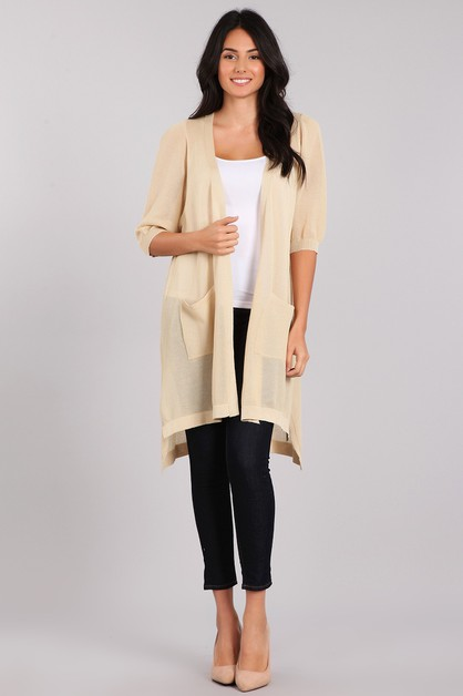Knit Sheer Long Body Cardigan - orangeshine.com