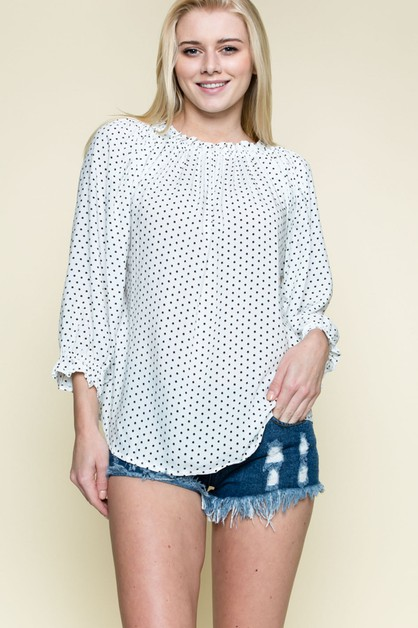 OFF SHOULDER DOT-POINT TOP - orangeshine.com