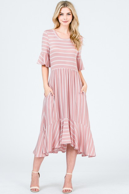 STRIPE BELL SLEEVE RUFFLED HEM DRESS - orangeshine.com