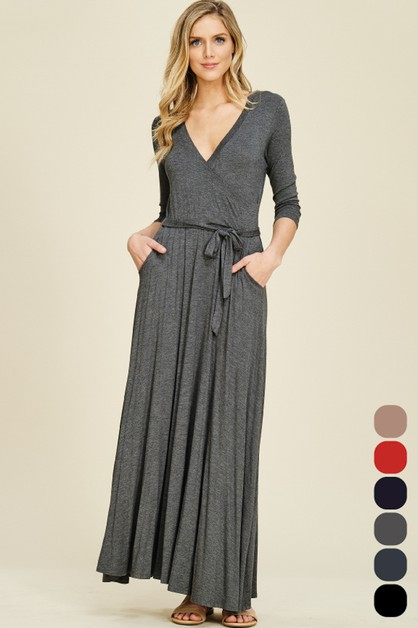 V Neck Half Sleeve Wrap Maxi Dress - orangeshine.com