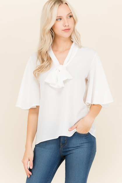 NECK TIE FLUTTER SLEEVE BLOUSE - orangeshine.com