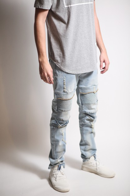 DISTRESS BIKER JEANS - orangeshine.com