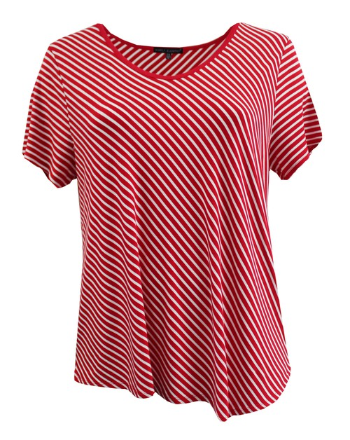 Plus Size Red White StripedTee - orangeshine.com