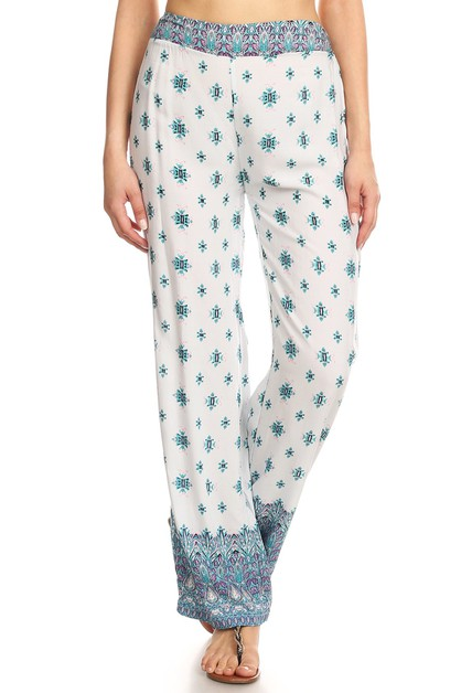 White Diamond Print Palazzo Pants  - orangeshine.com