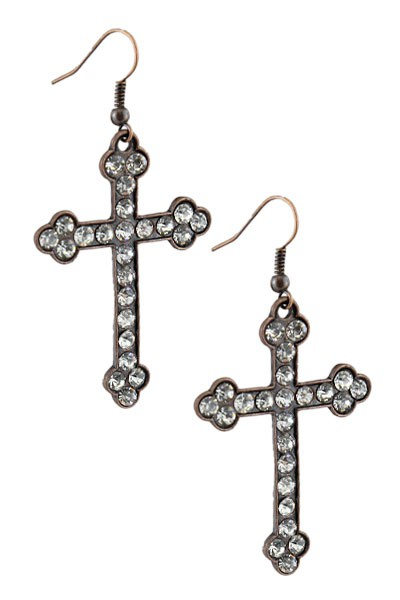 Crystal Cross Earrings Fish Hook  - orangeshine.com