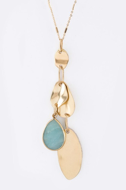Natural Stone Teardrop and Necklace - orangeshine.com