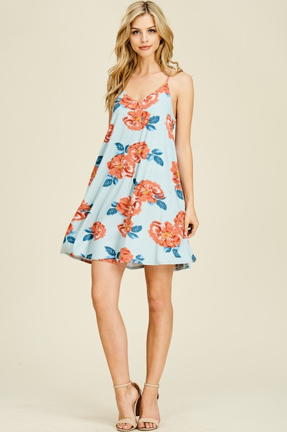 Racerback Sleeveless Floral Dress - orangeshine.com