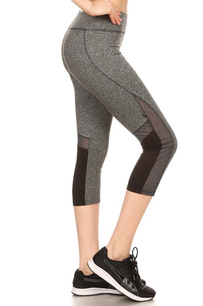 Color Block Mesh capri Sport Legging - orangeshine.com
