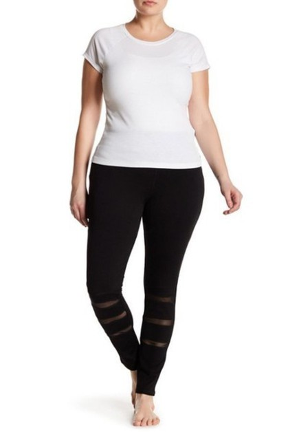 Triple Mesh Plus Size Legging - orangeshine.com