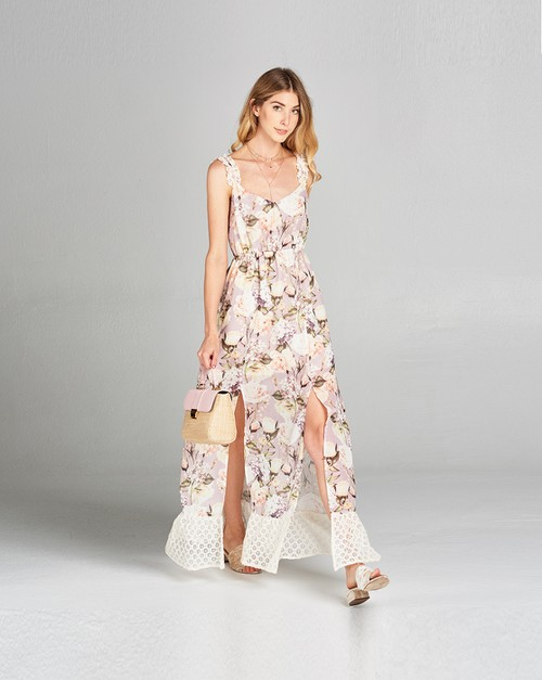 Floral printed with lace bottom maxi - orangeshine.com