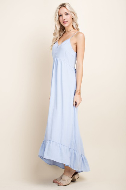Lace Trim Ruffle Hem Maxi Dress - orangeshine.com