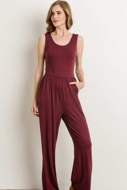 SOLID COLOR JUMPSUIT OPEN BACK  - orangeshine.com