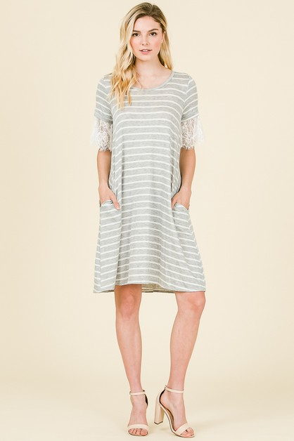 STRIPED TEE DRESS  - orangeshine.com