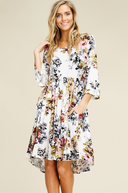 Floral Bell Sleeve Scoop Neck Dress - orangeshine.com