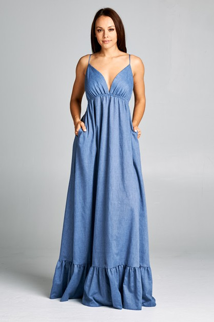 V-Neck Denim Dress - orangeshine.com