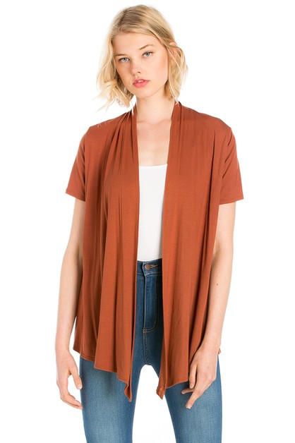 Short Sleeve Open Front Cardigan  - orangeshine.com