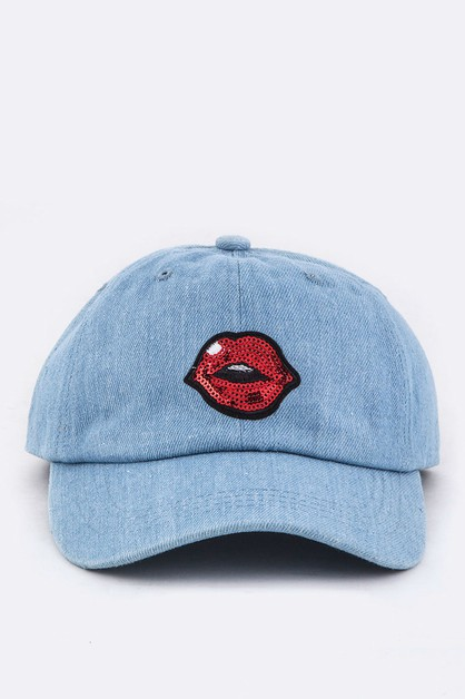 Sequins Lips Denim Cap - orangeshine.com