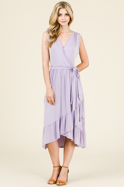 RUFFLED HEM WRAP DRESS  - orangeshine.com