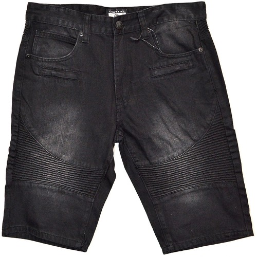 Washed Denim Moto Short Jeans - orangeshine.com