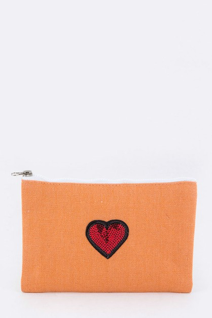 Sequins Heart Mini Canvas Pouch - orangeshine.com