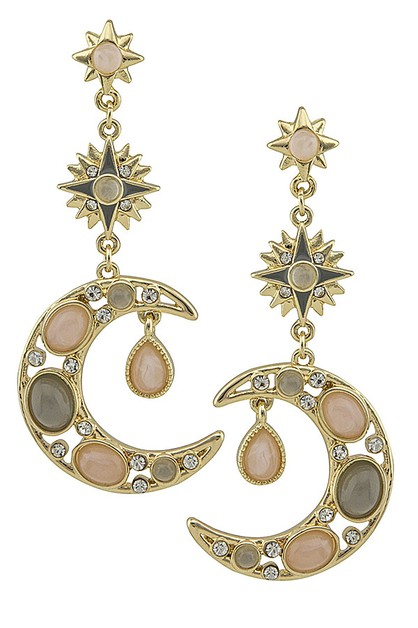 Crescent Moon and Star Drop Earrings - orangeshine.com