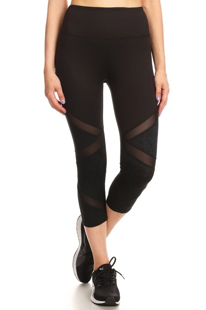 Mesh Capri Sports Leggings Yoga Pant - orangeshine.com