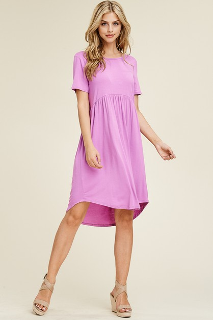 MIDI DRESS WITH WAIST SHIRRING - orangeshine.com