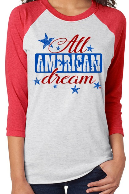 All American Dream Baseball Raglan T - orangeshine.com
