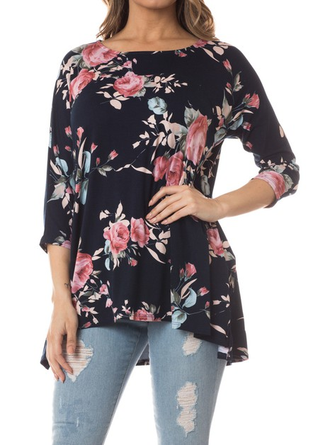 Flower print design tunic top - orangeshine.com