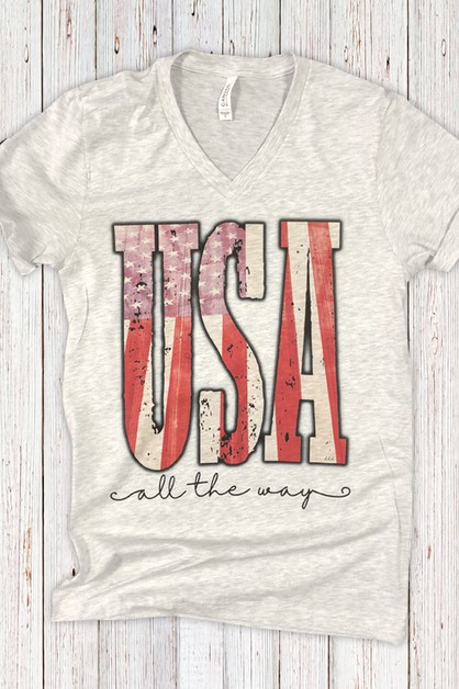 USA All The Way V Tee - orangeshine.com