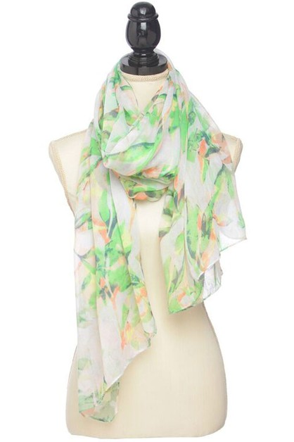 TROPICAL LEAF PRINT SCARF - orangeshine.com