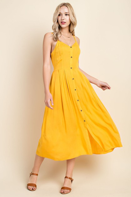 Button Down Midi Dress With Smocked  - orangeshine.com