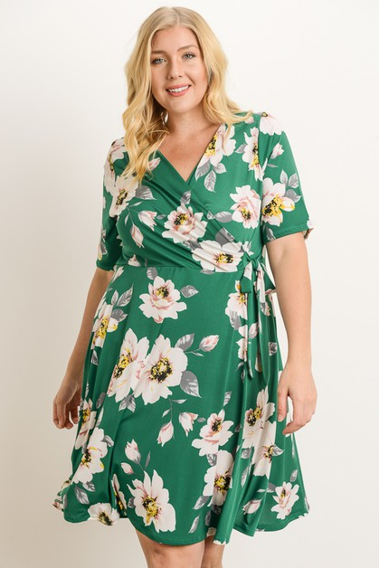 Plus Size Floral Dress - orangeshine.com
